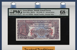 TT PK M22a 1948 GREAT BRITAIN 1 POUND ARMED FORCE PMG 68 EPQ SUPERB FINEST KNOWN