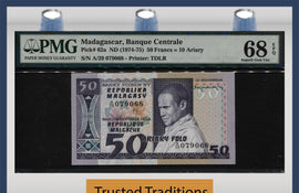 TT PK 062a 1974-75 MADAGASCAR 50 FRANCS =10 ARIARY PMG 68 EPQ SUPERB FINEST KNOWN