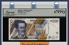 TT PK 126a 1987 ECUADOR BANCO CENTRAL 5000 SUCRES LCG 67 PPQ SUPERB GEM NEW!