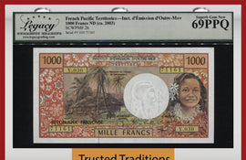 TT PK 2h 2003 FRENCH PACIFIC TERRITORIES 1000 FRANCS LCG 69Q FABULOUS HIGH GRADE