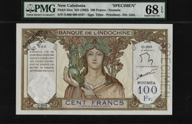 TT PK 42es 1963 NEW CALEDONIA 100 FRANCS SPECIMEN PMG 68 EPQ POP 5 NONE FINER!!