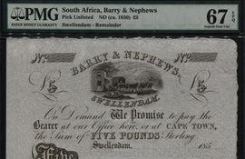 TT 185_ SOUTH AFRICA REMAINDER BARRY & NEPHEWS SWELLENDAM 5 POUNDS PMG 67 EPQ