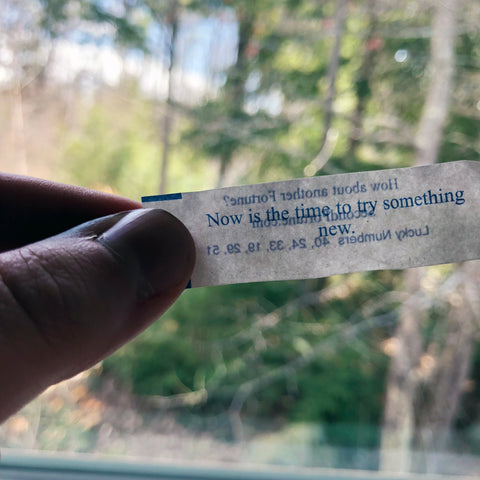 Fortune cookie reading: 'Now is the time to try something new'.