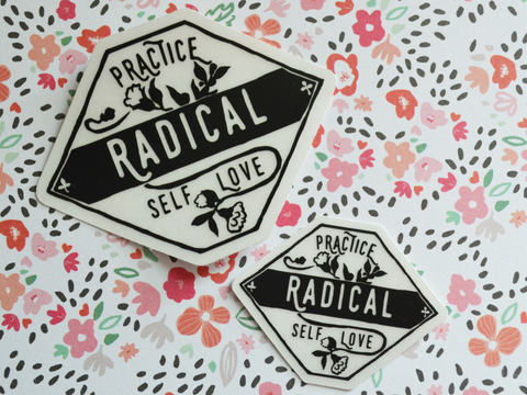Practice Radical Self Love: Vinyl Self Care Laptop Feminist Sticker Set, car decal