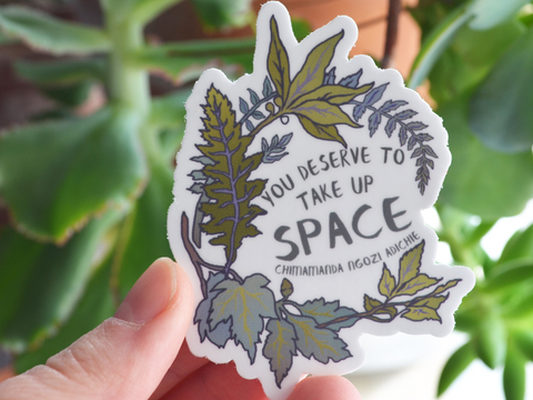 You Deserve To Take Up Space, Chimamanda Ngozi Adichie: Self Care Laptop Sticker