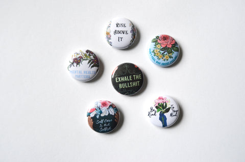 "Mental Health: 1"" Feminist Pin Set"
