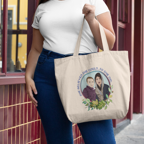 She Believed She Could So She Did: Large organic tote bag