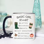 basic girl fall checklist funny coffee mug lattes scarves boots cozy sweaters leggings football pumpkin spice white ceramic black rim black handle