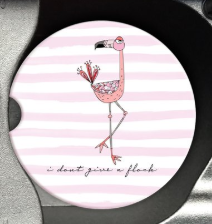 flamingo sandstone car coaster pink white stripe don't give a flock