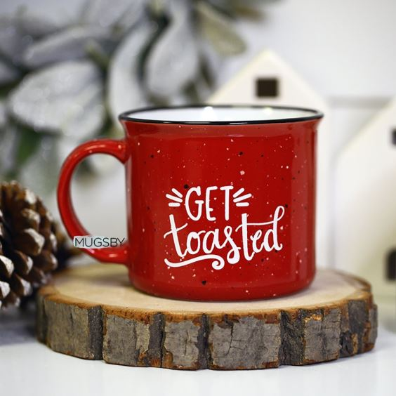 red stonewear fleck campfire mug oversized get toasted white font holiday shopping