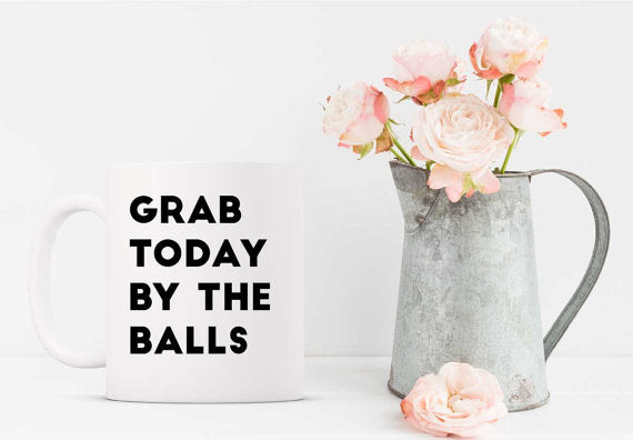 funny coffee mug white mug grab today by the balls motivational mug black font printed floral pitcher