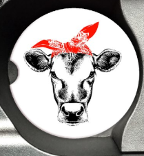 sandstone car coaster heifer cow face red bandana rosie riveter style Heifer Please Not today Heifer