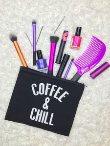 black cotton makeup bag funny Coffee & Chill younique makeup Real techniques makeup brushes northern nail polish lila rose bobby pins wet brush