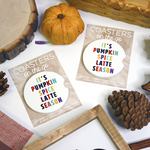 pumpkin spice latte car coaster psl season fall pumpkin pine cone