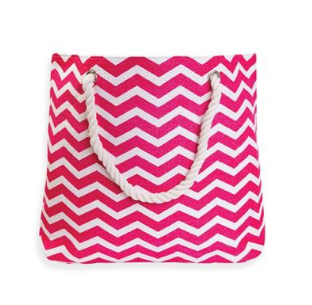 Pink and white chevron beach tote bag white rope handle oversized tote