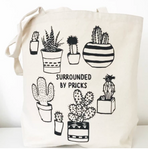 cotton canvas tote surrounded by pricks cactus farmers market tote natural color black font