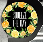 citrus squeeze the day sandstone coaster black background lime orange white font
