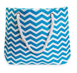 Aqua and white chevron beach tote bag white rope handle oversized tote