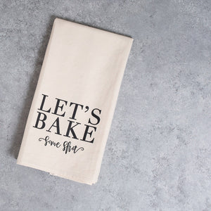baking funny kitchen tea towel unbleached cotten black font lets bake some shit