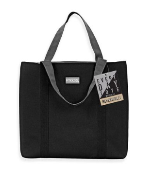 black solid tote bag reversible to grey