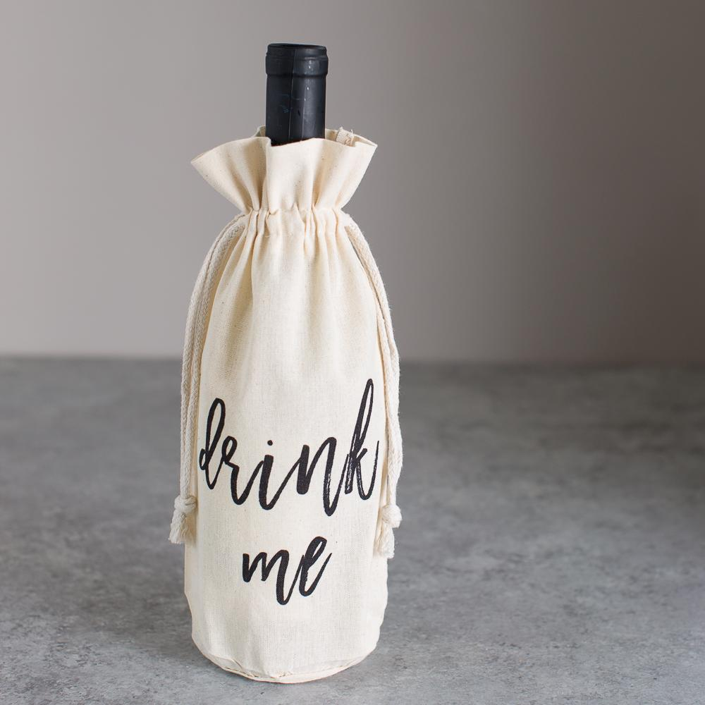 canvas tote wine bottle bag black font drink me gift idea