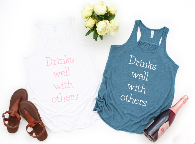 funny tank white teal bridal party brunch girls night girls trip tank drinks well with others graphic tee