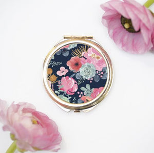 gold compact cosmetic mirror blue cactus floral design