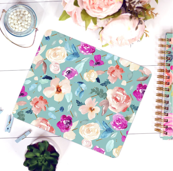 teal floral pretty girly dainty mousepad cute office supplies boss babe