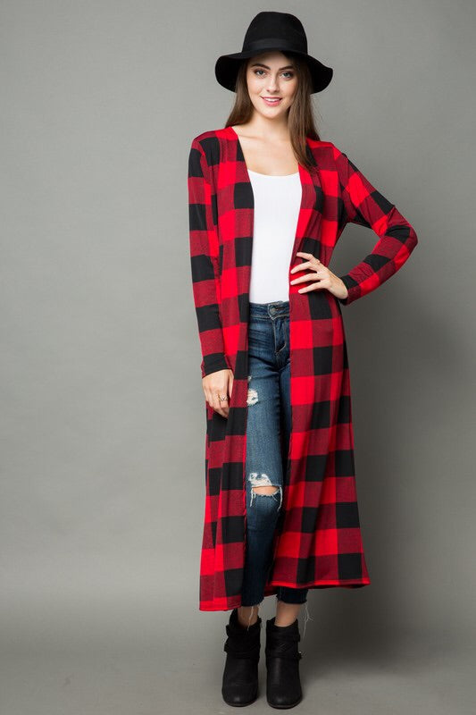 Buffalo Plaid Duster - Red
