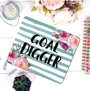floral stripes funny office supplies mouse pad goal digger momboss ceo