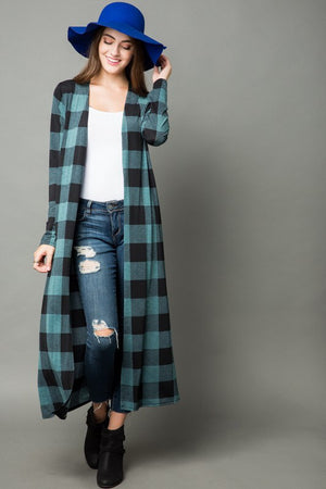 Buffalo Plaid Duster - Green
