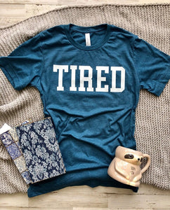 funny graphic tee tired nap time teal cozy blanket gift