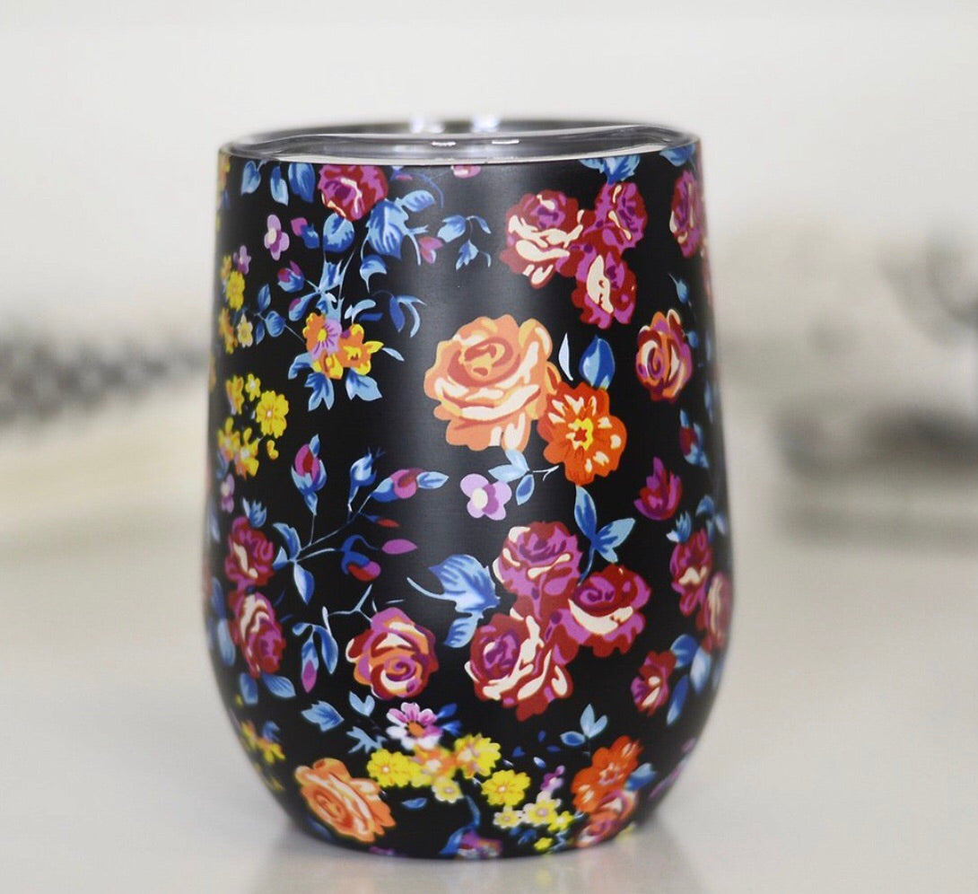Full Wrap Black Floral Wine Cup