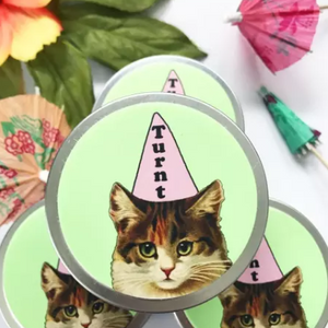 funny candle gift ideas cat picture with party hat on turnt kitty soy candle