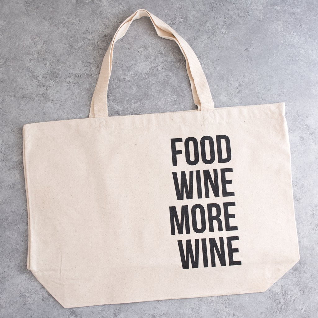 cotton canvas tote food wine more wine farmers market tote natural color black font