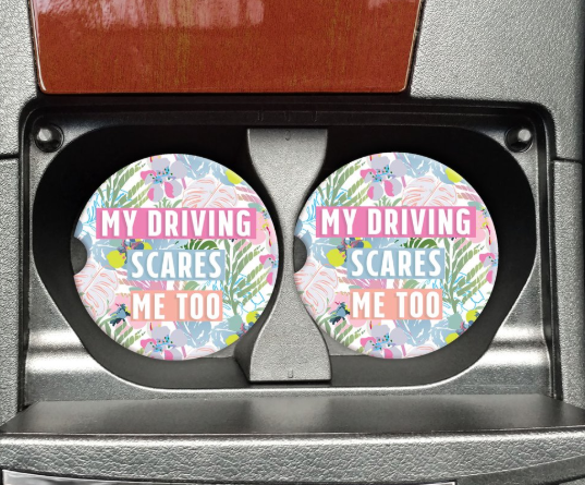 pastel floral my driving scares me too stripes funny car coaster gift idea