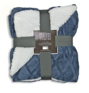 plush blue and white sherpa throw blanket cozy soft blanket