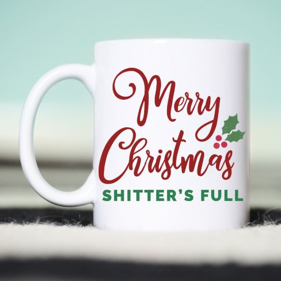 funny christmas mug christmas vacation merry christmas shitters full white ceramic red and green font
