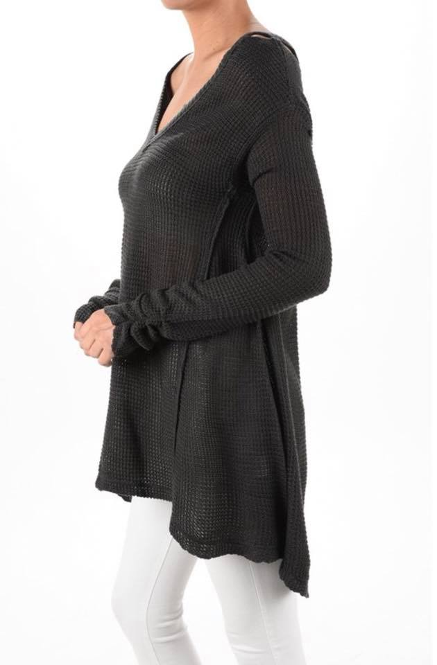 charcoal grey cozy fall cold shoulder knit sweater side detail