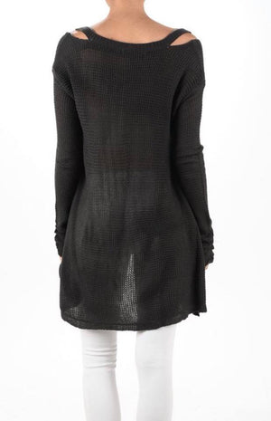 charcoal grey cozy fall cold shoulder knit sweater back detail