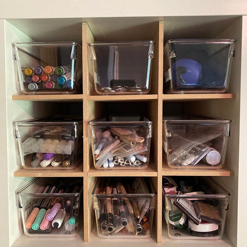 Pictured is our 9 cubby insert utilized with containers.