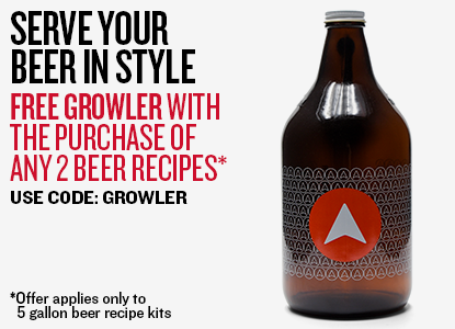 Free Limited Edition Growler with purchase of two Beer Recipe Kits.