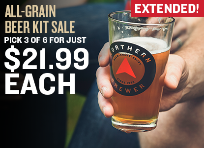Add any combination of at least 3 (or more) of 6 select All Grain beer recipe kits to your cart, and get them for $21.99 each! Use code BEERWEEK at checkout.