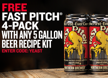 Free Fast Pitch 4-Pack with any 5 Gallon Beer Recipe Kit