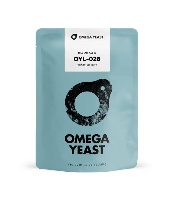 Front view of Omega Yeast's Belgian Ale W OYL028 container