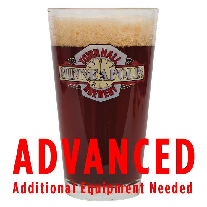 "Town Hall Hope and King Scotch Ale in a glass  with a customer caution in red text: ""Advanced, additional equipment needed"" to brew this recipe kit"