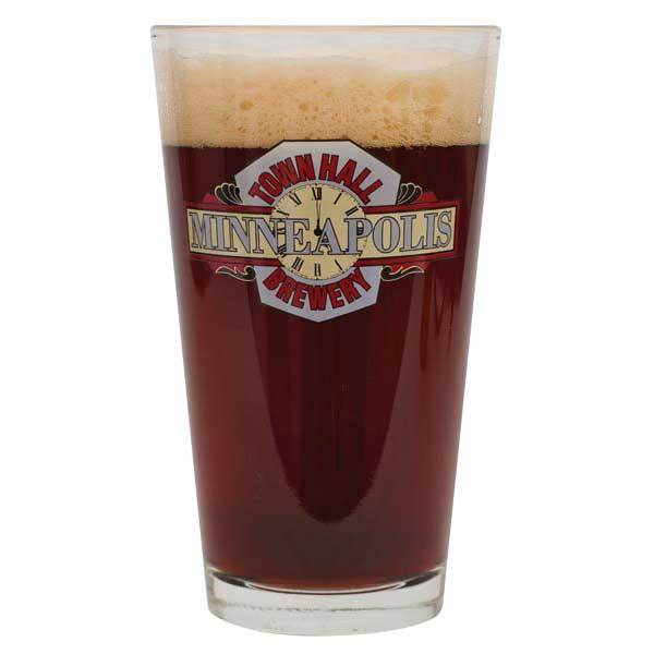 A glass filled with Town Hall Hope and King Scotch Ale