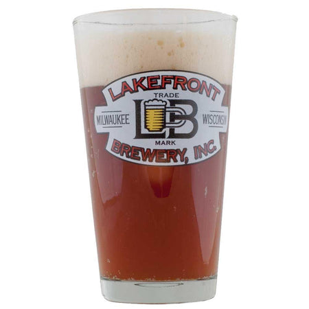 A Lakefront brewing glass filled with Lakefront Brewery's bridge burner homebrew