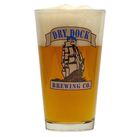 A dry dock-brand glass filled with Dry Dock Paragon Apricot Blonde Pro-Series homebrew