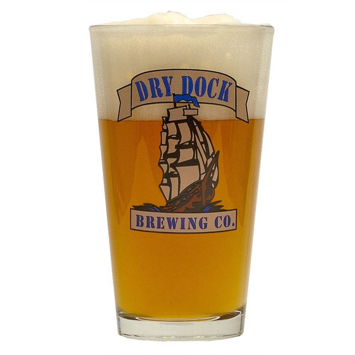 Dry Dock Paragon Apricot Blonde Pro-Series homebrew in a glass with the dry dock logo